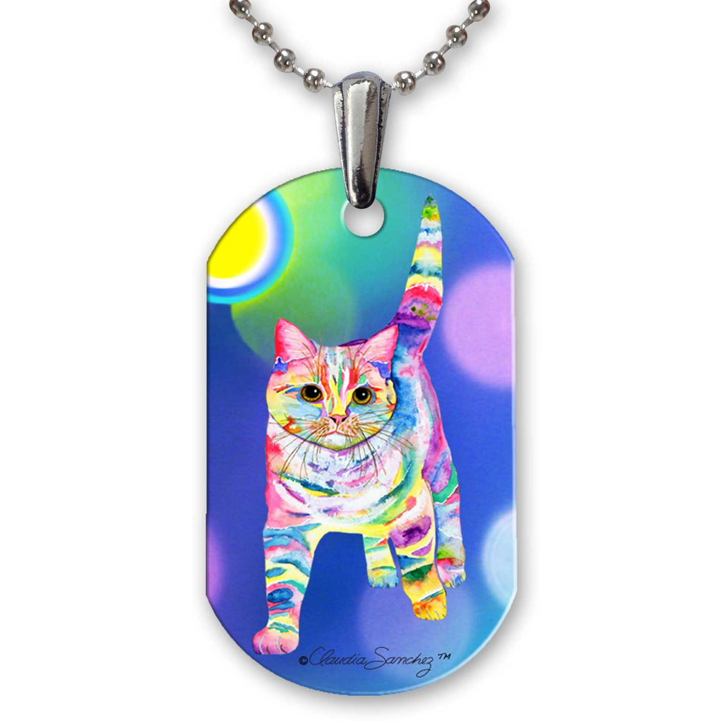 Morris Bliss Cat Art Aluminum Pendant Necklace by Claudia Sanchez - White