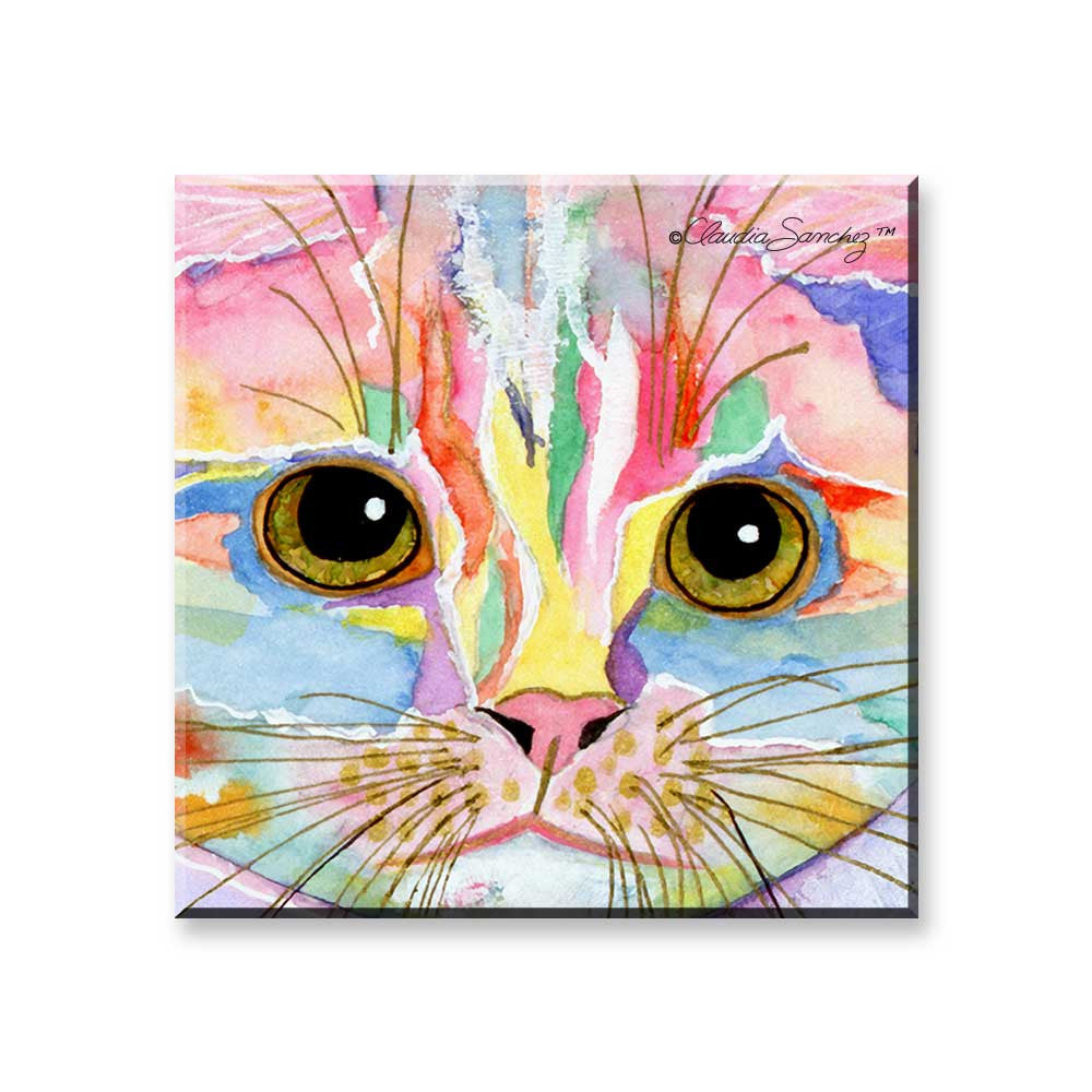 Morris Face - Cat Art Magnet by Claudia Sanchez