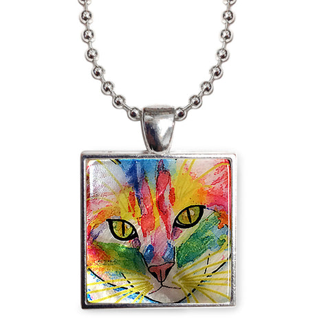 "Abby Face Cat Art 1"" Mother of Pearl Pendant Necklace by Claudia Sanchez, Claudia's Cats Collection"
