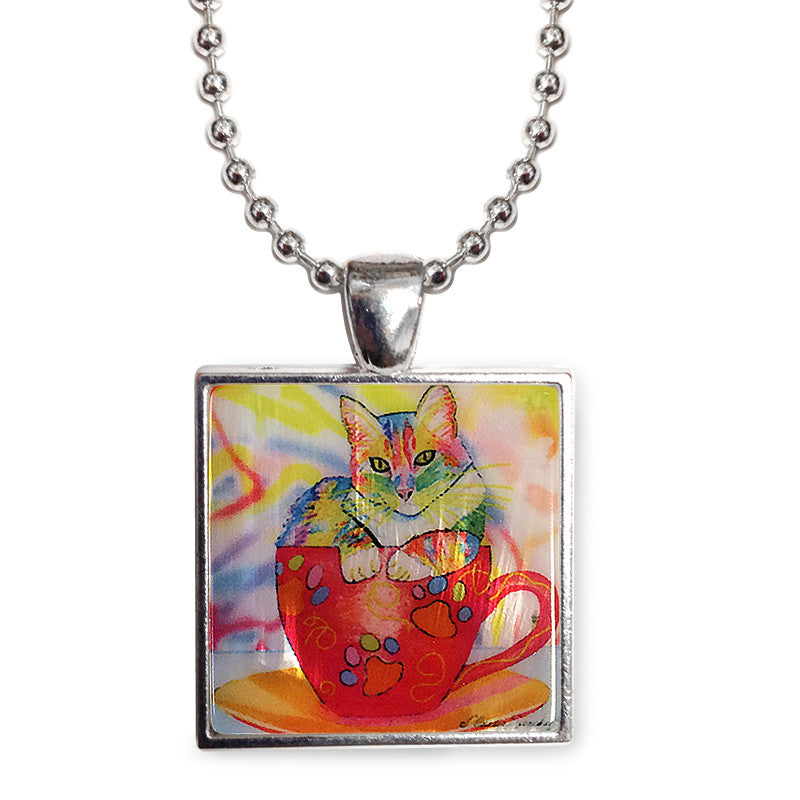 "Coffee Cat Multicolor Cat Art 1"" Mother of Pearl Pendant Necklace by Claudia Sanchez, Claudia's Cats Collection"