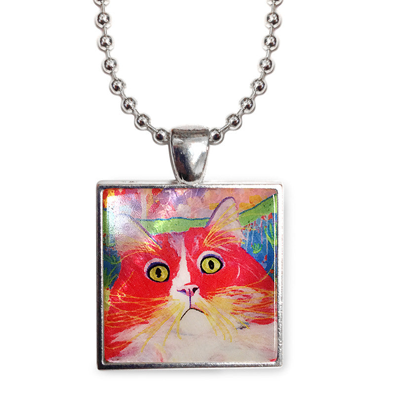 "Dory Red Devil Hot Shot Cat Art 1"" Mother of Pearl Pendant Necklace by Claudia Sanchez, Claudia's Cats Collection"
