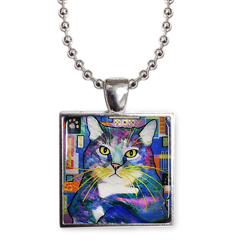"Napper Cat Art 1"" Mother of Pearl Pendant Necklace by Claudia Sanchez, Claudia's Cats Collection"