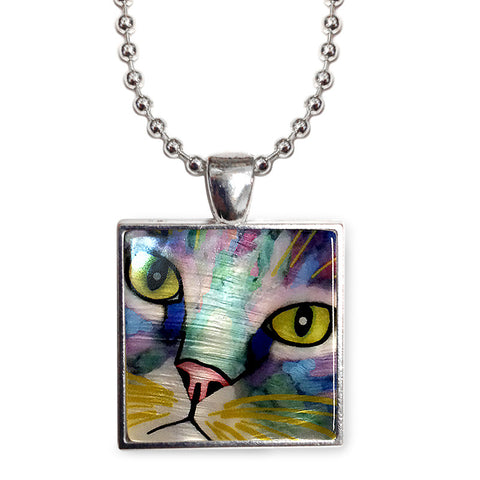 "Napper's Eyes Cat Art 1"" Mother of Pearl Pendant Necklace by Claudia Sanchez, Claudia's Cats Collection"