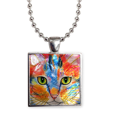 "Tabby Fat Cat Cat Art 1"" Mother of Pearl Pendant Necklace by Claudia Sanchez, Claudia's Cats Collection"