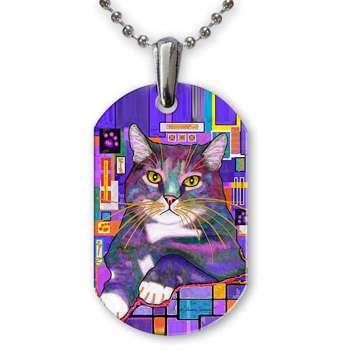 Napper Aluminum Cat Art Pendant Necklace by Claudia Sanchez, Claudia's Cats Collection