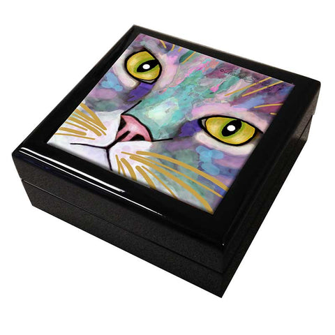 Napper Eyes Cat Art Tile Keepsake Box by Claudia Sanchez
