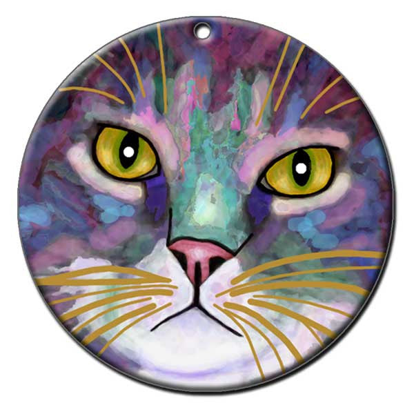 Napper Eyes Ceramic Cat Art Christmas Ornament by Claudia Sanchez, Claudia's Cats Collection