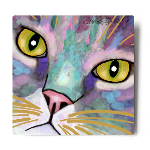 Napper Eyes Aluminum Cat Art Print