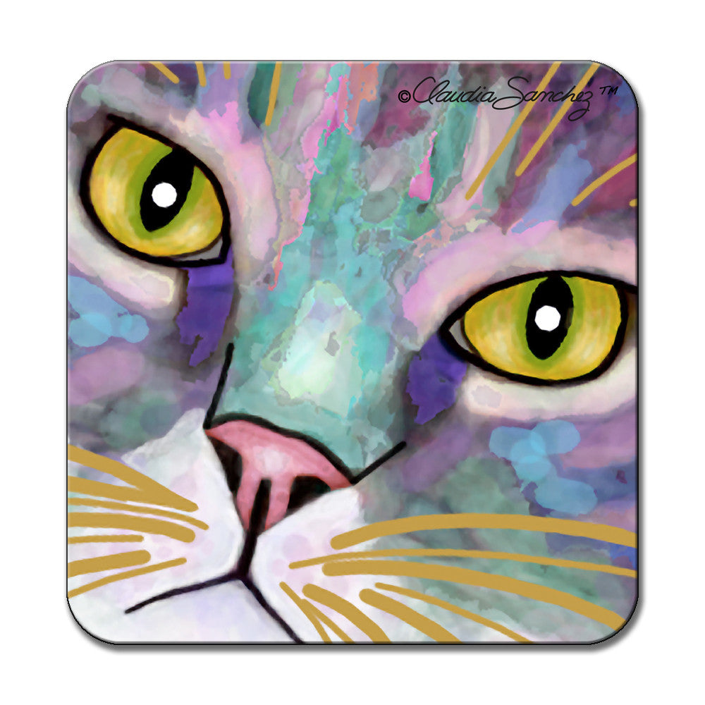 Napper's Eyes Cat Art Coaster by Claudia Sanchez