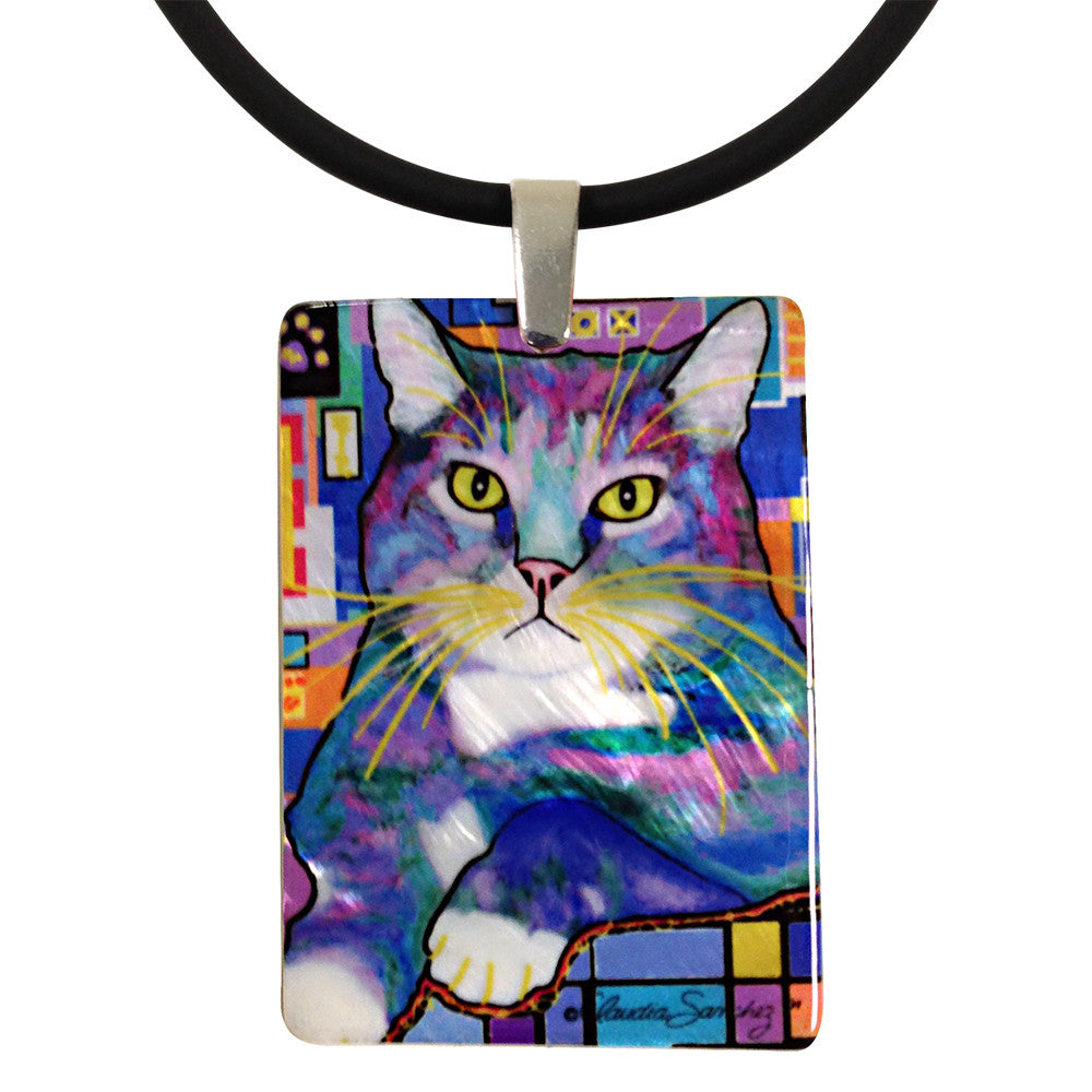 Napper Mother of Pearl Cat Art Pendant Necklace by Claudia Sanchez, Claudia's Cats Collection