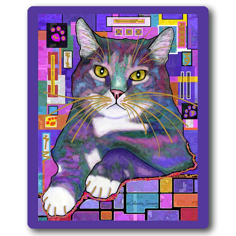Napper Cat Art Mousepad by Claudia Sanchez, Claudia's Cats Collection