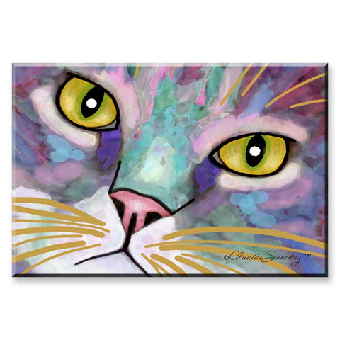 Napper's Eyes (rectangle) - Cat Art Magnet by Claudia Sanchez