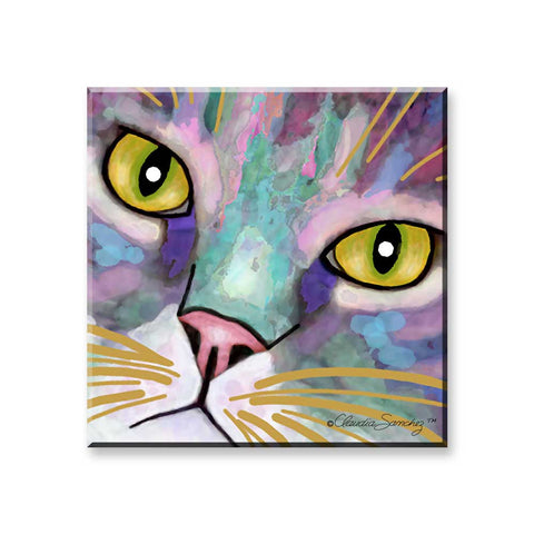 Napper's Eyes (Square) - Cat Art Magnet by Claudia Sanchez