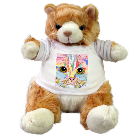 "9"" plush stuffed cat with Claudia Sanchez Cat Art t-Shirt - Morris Face"