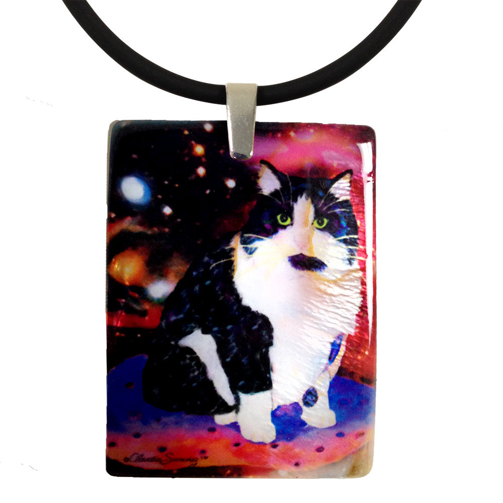 Oreo, Astronaut Cat Mother of Pearl Pendant Necklace by Claudia Sanchez