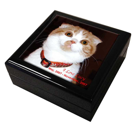 Personalized Photo Pet Memorial Tile Keepsake Box by Claudia Sanchez