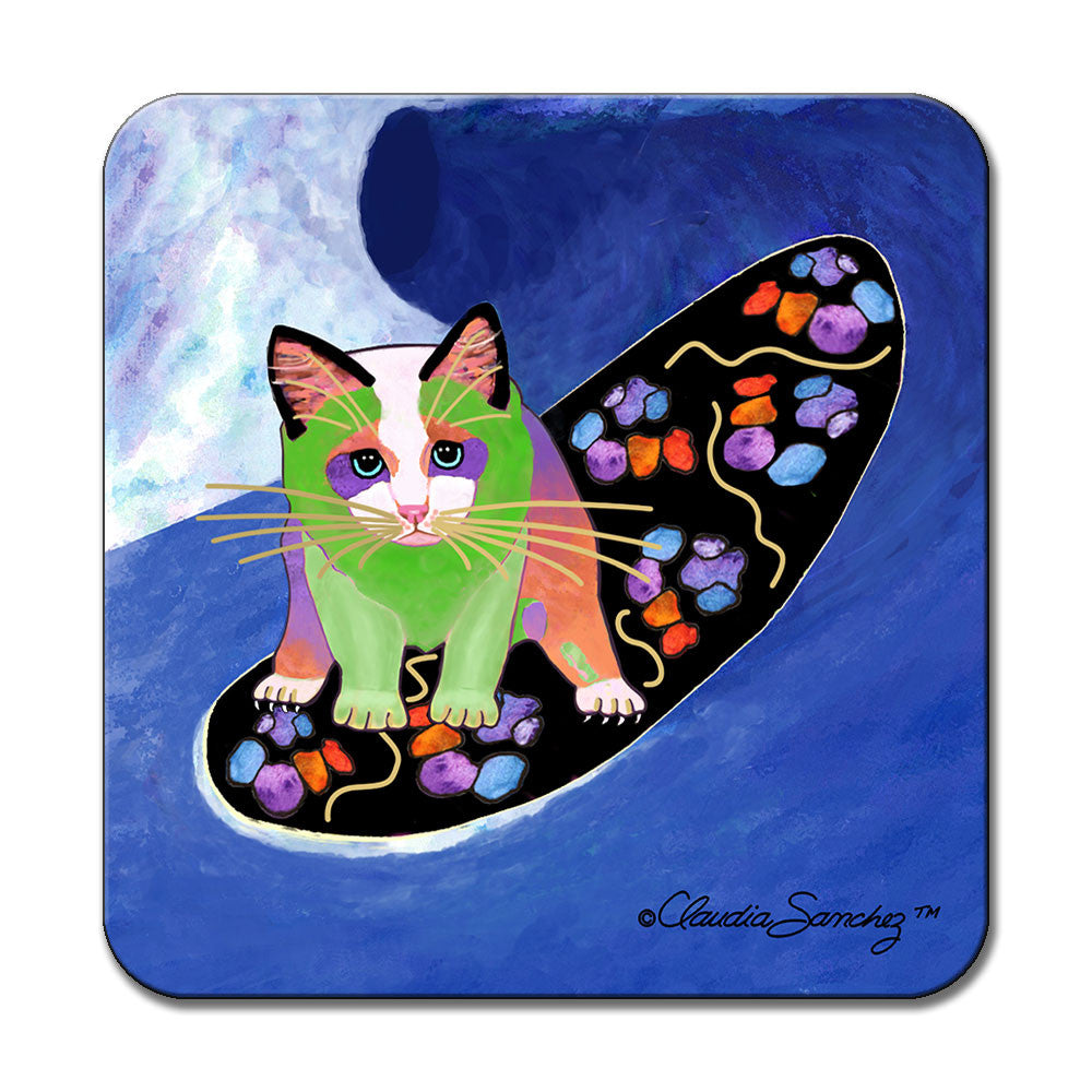 Poi Surfer Boy Cat Art Coaster