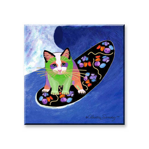 Poi Surfer Boy - Cat Art Magnet by Claudia Sanchez