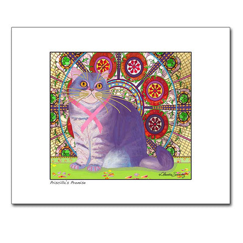 Priscilla's Promise, Archival Matted Cat Art Print by Claudia Sanchez, Cats for the Cure
