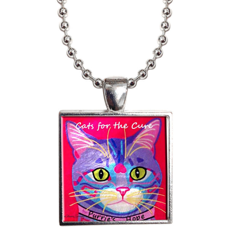 "Purrsie's Hope 1"" Mother of Pearl Cat Pendant Necklace by Claudia Sanchez, Cats for the Cure"