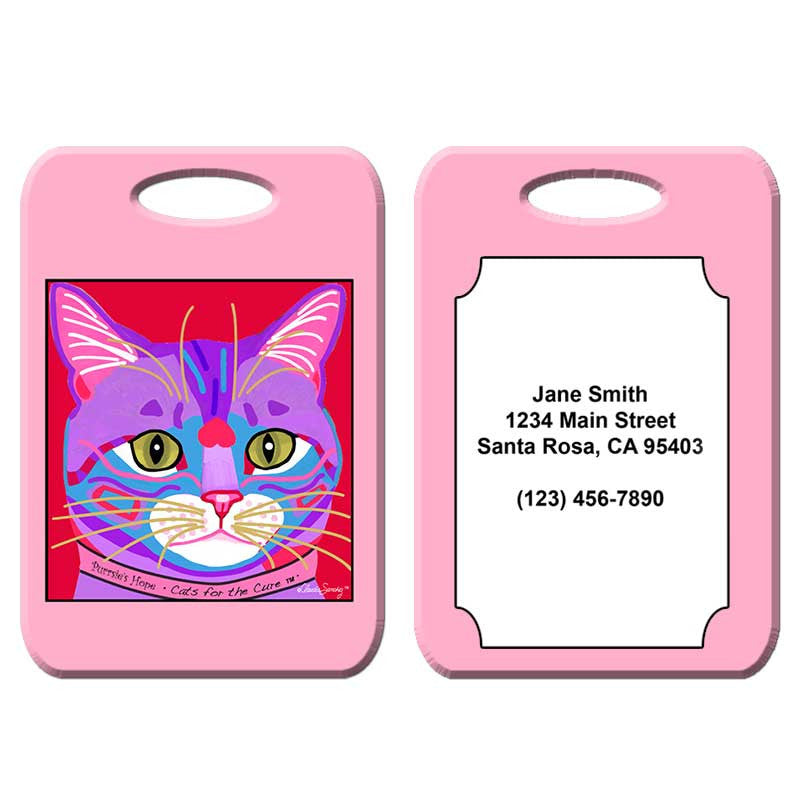 Purrsie's Hope - Cat Art Luggage Tag by Claudia Sanchez, Cats for the Cure