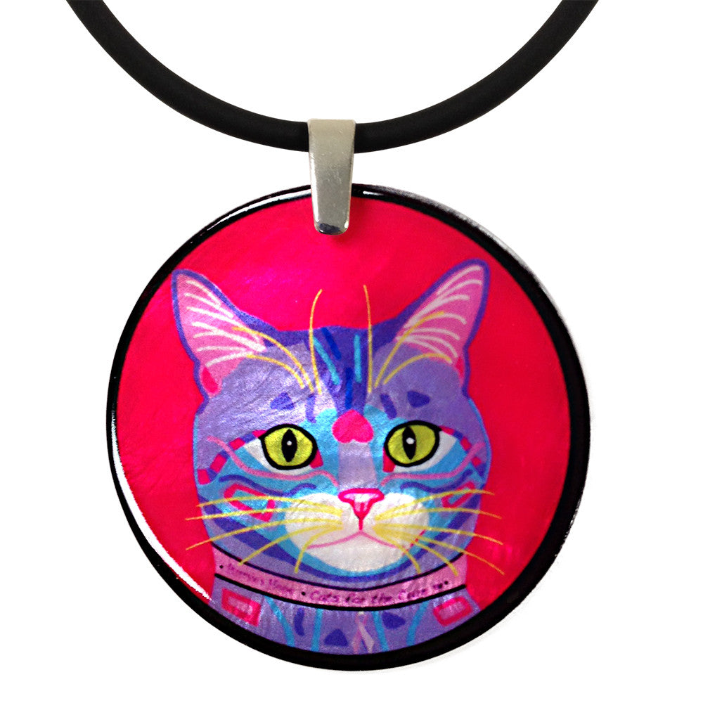 Purrsie's Portrait Round Mother of Pearl Cat Art Pendant Necklace by Claudia Sanchez, Cats for the Cure
