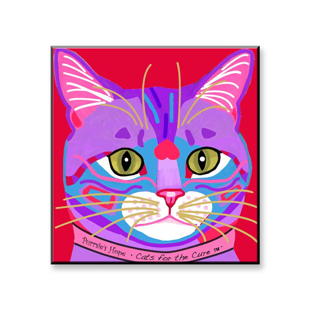 Purrsie's Hope - Cat Art Magnet by Claudia Sanchez