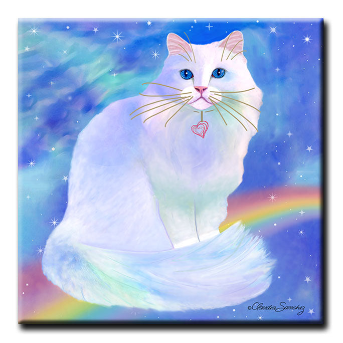 Rainbow Blue Romeo - Decorative Ceramic Cat Art Tile by Claudia Sanchez