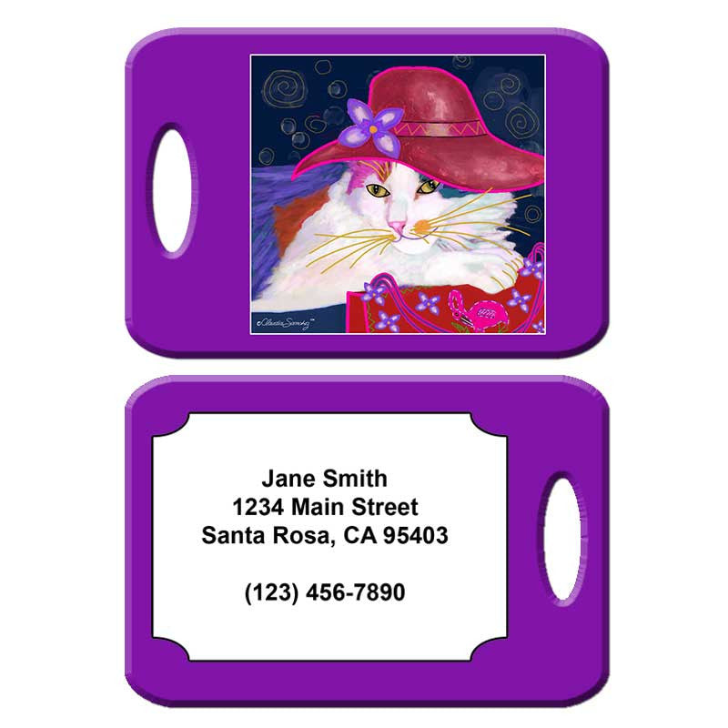 Sabrina, Red Hat Cat - Cat Art Luggage Tag by Claudia Sanchez