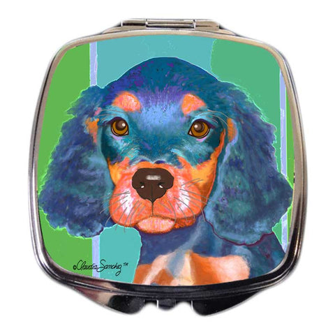 Reese Dog Art Compact Mirror by Claudia Sanchez