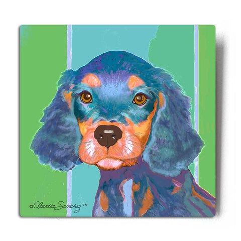 Rees Dog Aluminum Art Print by Claudia Sanchez