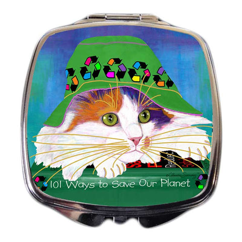 Sabrina EcoCat Art Compact Mirror by Claudia Sanchez