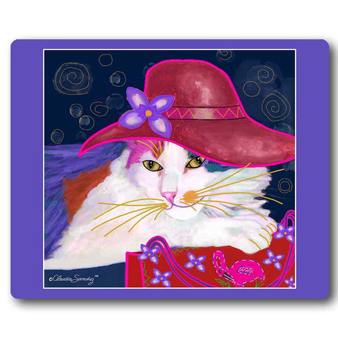 Sabrina Red Hat Cat Art Mousepad by Claudia Sanchez, Claudia's Cats Collection