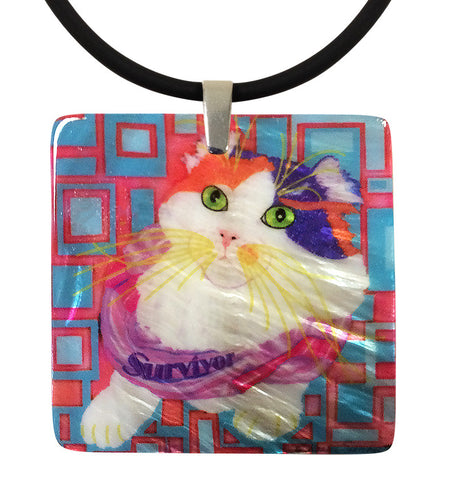 Sabrina Survivor Cat Mother of Pearl Cat Art Pendant Necklace by Claudia Sanchez, Cats for the Cure