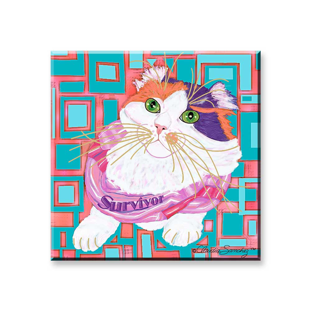 Sabrina Survivor Cat - Cat Art Magnet by Claudia Sanchez