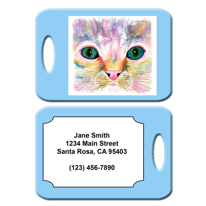 Samantha's Kitten Eyes - Cat Art Luggage Tag by Claudia Sanchez
