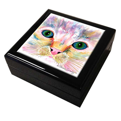 Samantha's Kitten Eyes Cat Art Tile Keepsake Box by Claudia Sanchez