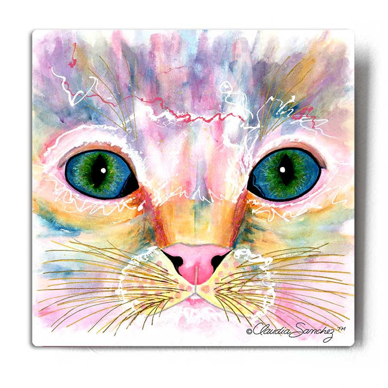 Samantha's Kitten Eyes Aluminum Cat Art Print by Claudia Sanchez, Claudia's Cats Collection
