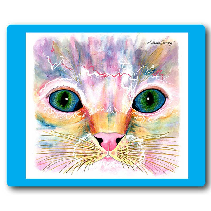 Samantha's Kitten Eyes Cat Art Mousepad by Claudia Sanchez, Claudia's Cats Collection