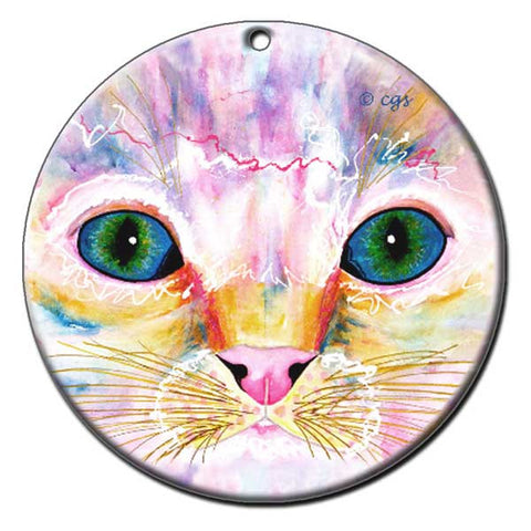 Samantha's Kitten Eyes Ceramic Cat Art Ornament by Claudia Sanchez, Claudia's Cats Collection