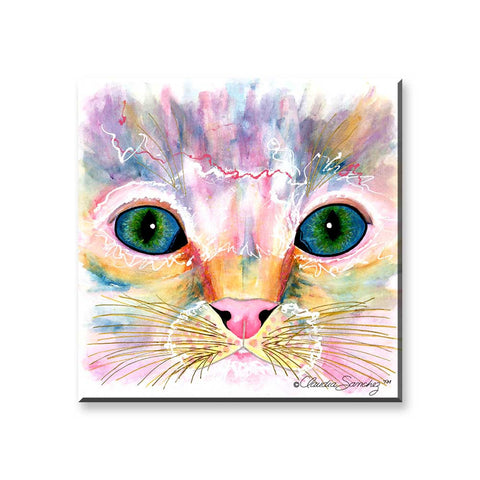 Samantha Kitten Eyes - Cat Art Magnet by Claudia Sanchez