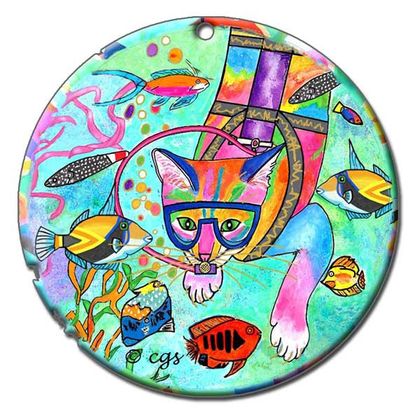 Scuba Cat Ceramic Cat Art Christmas Ornament by Claudia Sanchez, Claudia's Cats Collection