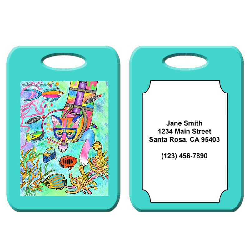 Scuba Cat - Cat Art Luggage Tag by Claudia Sanchez