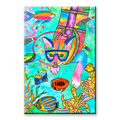 Chucky Scuba Cat - Cat Art Magnet by Claudia Sanchez