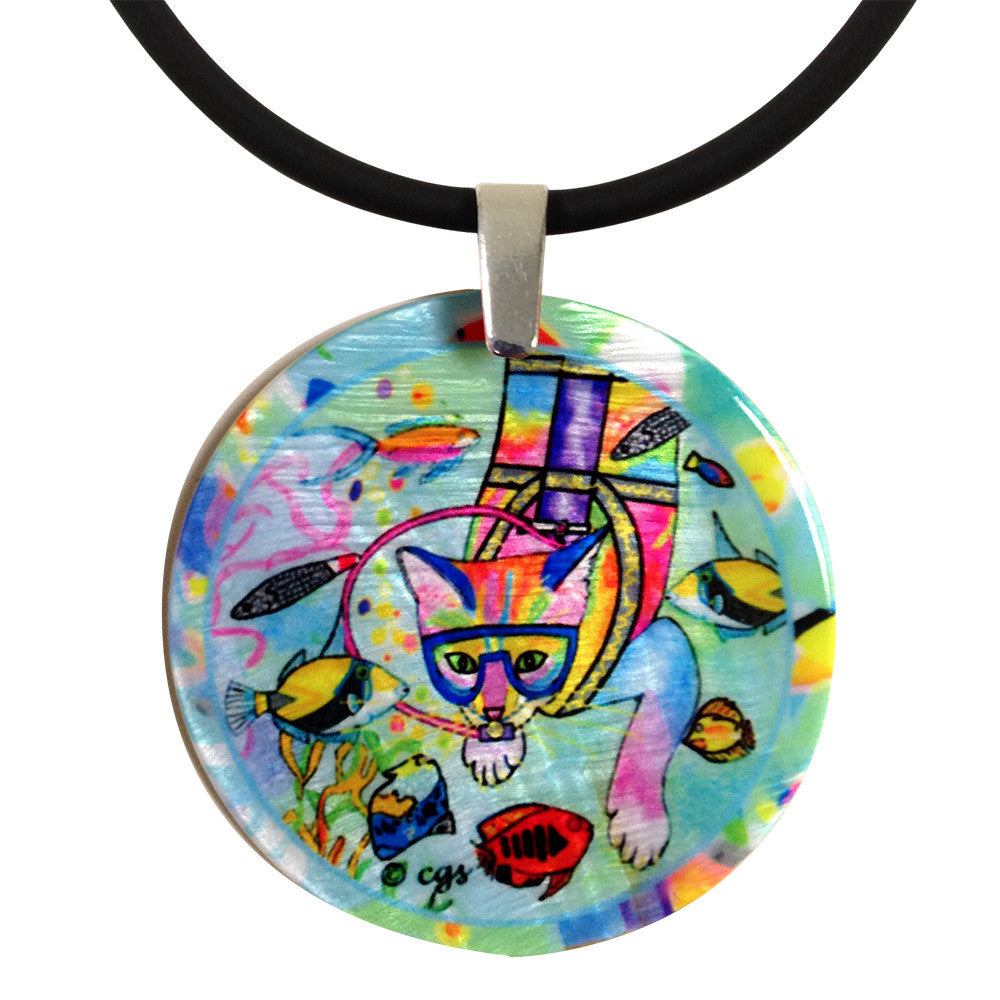 Scuba Cat Mother of Pearl Cat Art Pendant Necklace by Claudia Sanchez, Claudia's Cats Collection