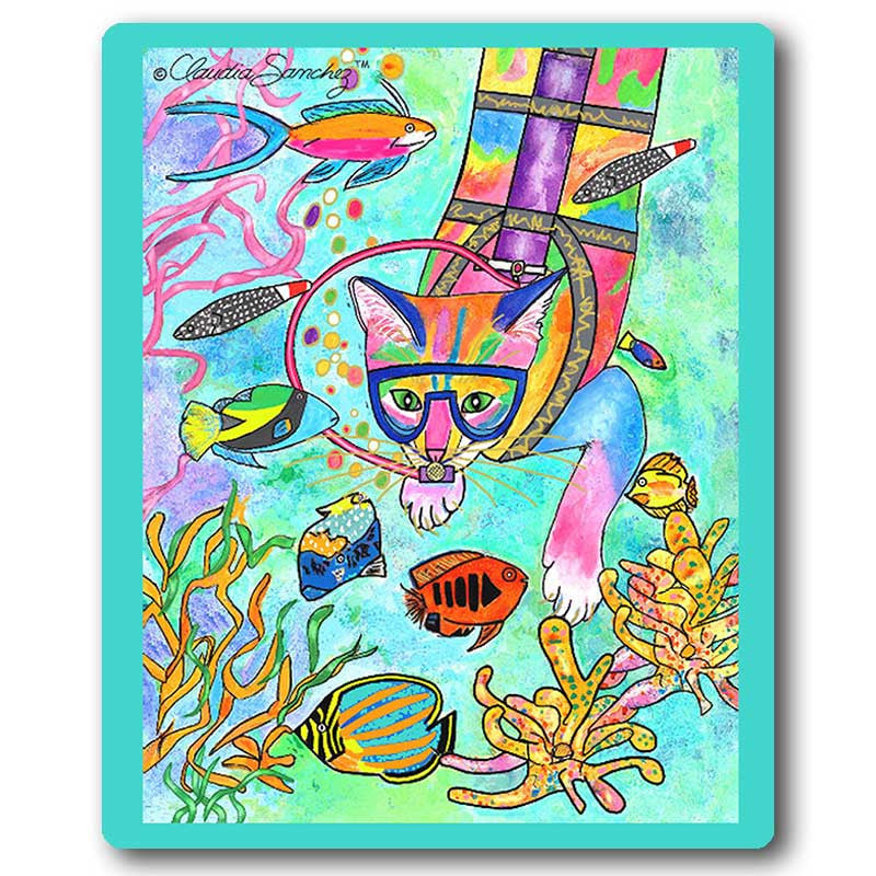 Scuba Cat Art Mousepad by Claudia Sanchez, Claudia's Cats Collection