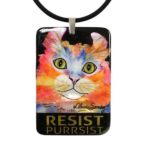 SImba RESIST•PURRSIST Large Mother of Pearl Cat Art Pendant by Claudia Sanchez
