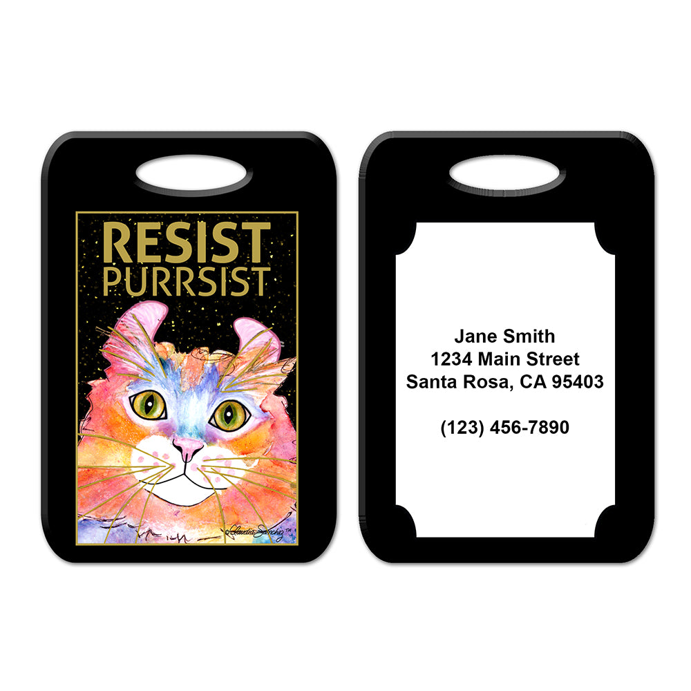 Simba RESIST•PURRSIST - Cat Art Luggage Tag by Claudia Sanchez