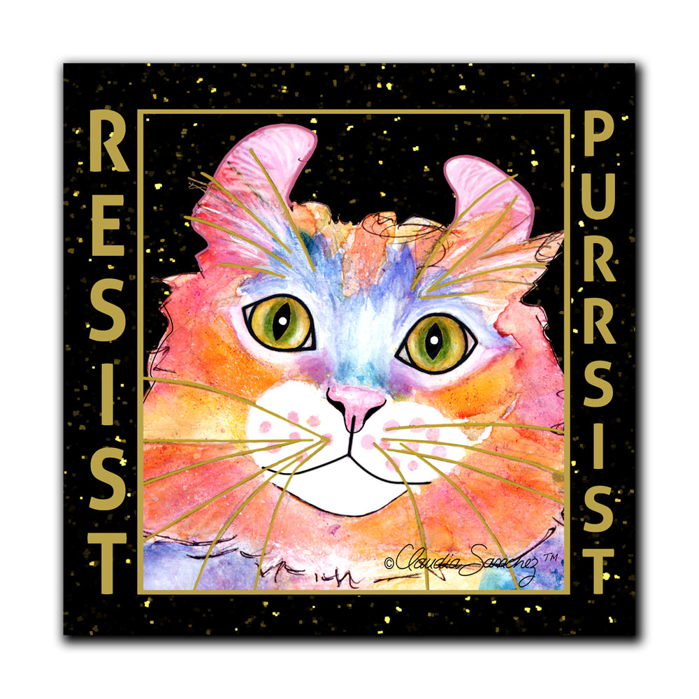 Simba RESIST•PURRSIST Cat Art Print by Claudia Sanchez