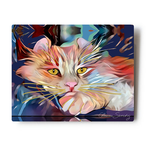 "Simba's Gaze Aluminum Cat Art Print, 8x10"" by Claudia Sanchez"